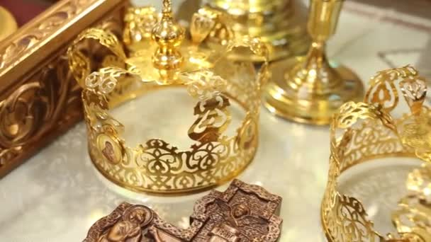 Crown and Cross for the wedding ceremony in the Orthodox Christian Church