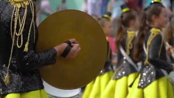 Ternopil, Ukraine June 27, 2019: Young girls drummer at the parade