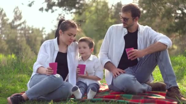 Mom, dad and son drink juice at a picnic in the park. A joint family goes for a healthy lifestyle. The concept of a happy