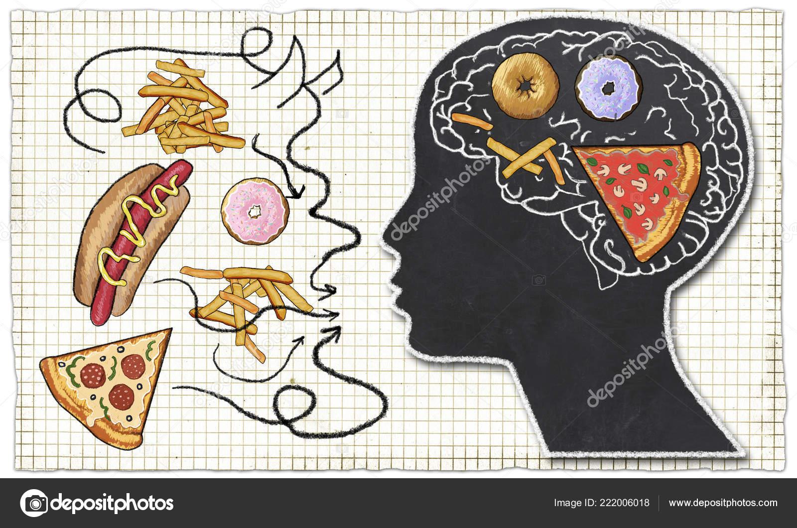 Zavislost Ilustrovane Rychlym Obcerstvenim Mozek Klasickem Styl