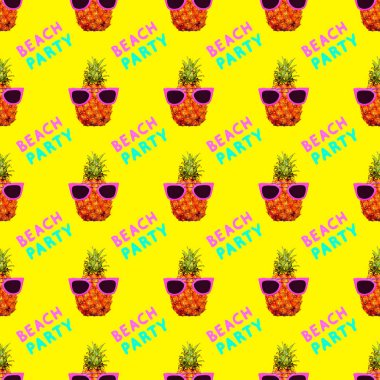 Seamless fashion pattern. Pineapple background. Ideal for t-shirt, greeting cards, wrapping paper, posters, fabric print.  Text Beach party