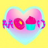 Contemporary art collage Candy lover. Candy mood. Fast food minimal project