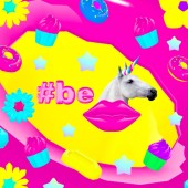 Fotografie Contemporary art collage.  Be unicorn. Candy world. Fast food minimal project