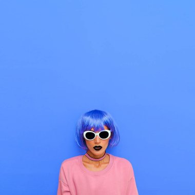 Life is colorful. Fashion Girl with blue hair and bright stylish look