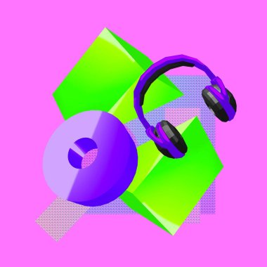 3d render Headphones and Geometry Contemporary art minimal collage.