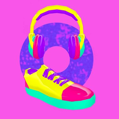 3d render Sneakers Headphones Street Style. Contemporary art collage.