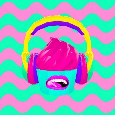 3d render. Dj cake. Contemporary minimal art collage. Good taste in music concept