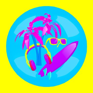 3d render. Contemporary minimal art collage. Surfing. Beach. Vacation.  DJ Party concept