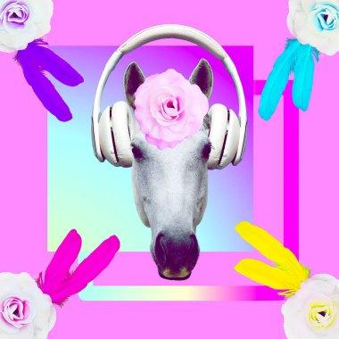 Contemporary art collage. Music concept. White horse DJ. Romantic mood