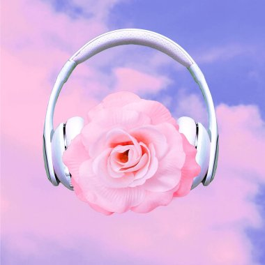 Contemporary art collage. Music concept.  Rose in headphones. Romantic mood