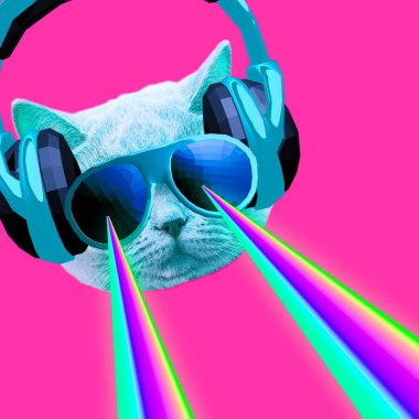 Party dj Cat with rainbow lasers from eyes. Minimal collage clubbing art