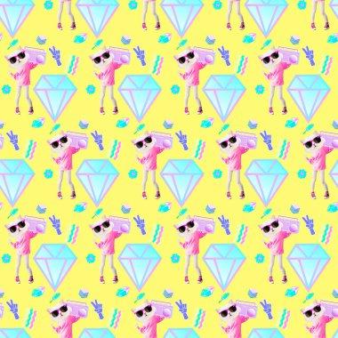 Seamless minimal pattern.Fashion Candy Dj Kitty background. Use