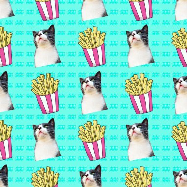 Seamless minimal fashion pattern. Cat fast food lover. Use for t