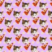 Minimální vzor bezešvé. Kočičí milovník pizzy. Použití pro tričko, gre