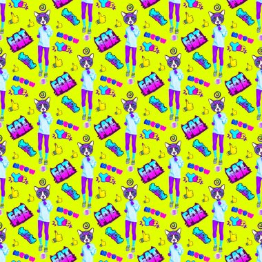 Seamless minimal  pattern. Cat power. Use for t-shirt, greeting