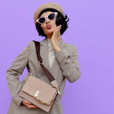 Retro lady chic with stylish accessories. Autumn fashion season stock vector