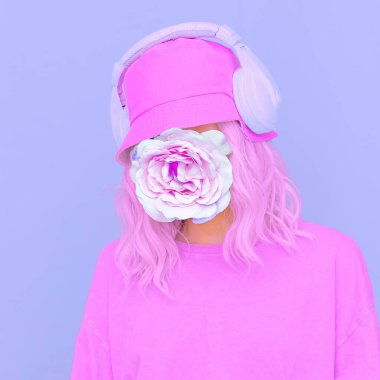 Flowers  Dj Girl in stylish headphones and bucket hats. Minimal monochrome purple colours design trends