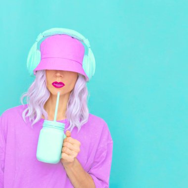 Fresh Smoothie Dj Girl in stylish headphones and bucket hats. Minimal monochrome pastel colours design trends