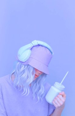 Ice Smoothie Dj Girl in stylish headphones and bucket hats. Minimal monochrome pastel colours  trends
