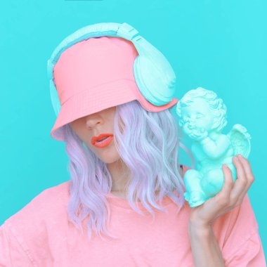 Vanilla Angel Dj Girl in stylish headphones and bucket hats. Minimal monochrome colours  trends