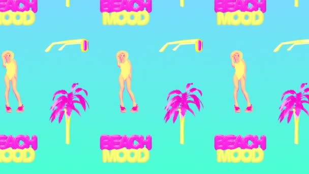 Motion design művészet. Beach Girl vagyok. Parti hangulat. Divat trópusi hangulat