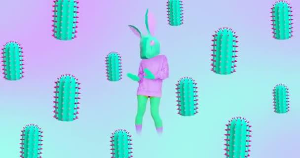Divatanimációs design. Táncoló Nyuszi Bolond. Kaktusz háttér. Ideális éjszakai klub party