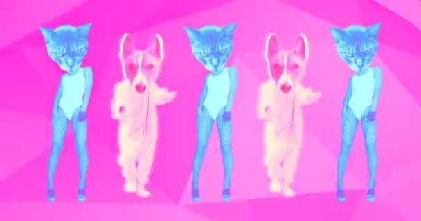 Minimales Bewegungsdesign. Tanzender Hund und Kitty. Freundschaftsstimmung