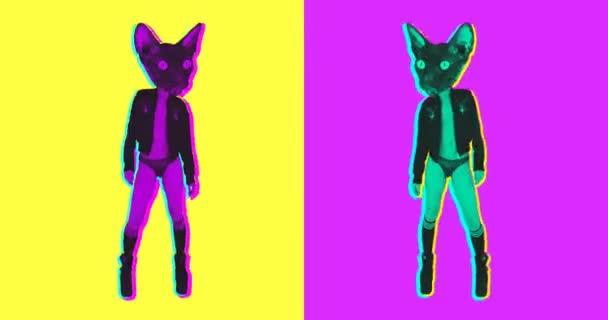 Minimales Animationsdesign. Gif set dancing sexy kitty. Ideal für Nachtclubbildschirme und lustige Gifs