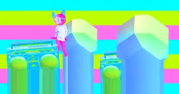 Minimal Motion Design Kunst. Tanzende Kitty in der Club-Location