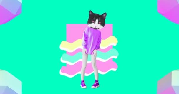 Animation modernes Design. Pretty Kitty tanzt in einer bunten Geometrie-Welt