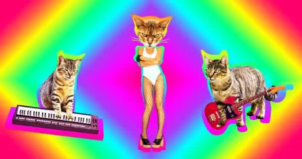 Motion Minimal Design Art. Lustige Musikband-Katzen. Rock-Stil