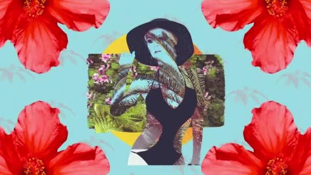 Módní animace design. Zine Collage art. Beach dívka květiny stylový tropické textury mix