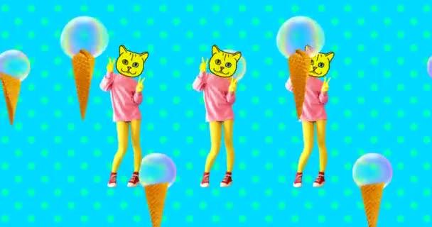 Minimal animierte GIF-Kunst. Ziemlich tanzende Kitty und Eis. Bewegungsmuster-Design