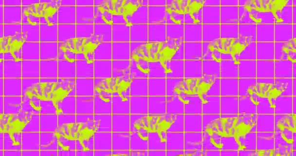 Minimal animierte GIF-Kunst. Cat minimales nahtloses Animationsmuster
