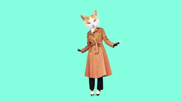 Gif Animationskunst Mode Kitty in einem Vintage-Mantel Pariser Stil