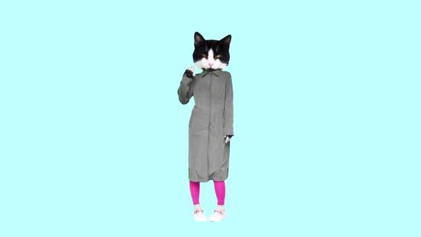 Gif Animationsdesign, Cute Kitty im Regenmantel Regenzeit hallo