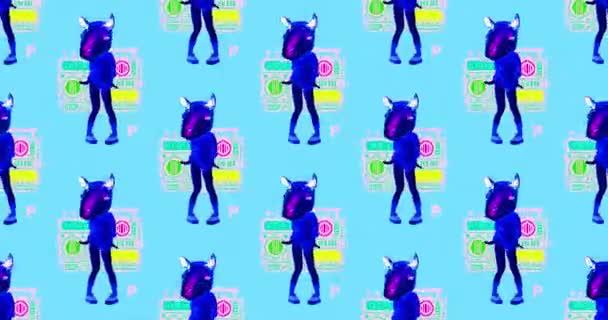 Animation Minimal Art. Tanzendes Lama-Muster. Ausgelassene Partystimmung