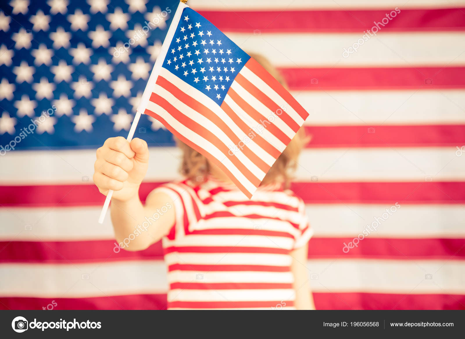 Child Holding American Flag 4th July Independence Day Holiday