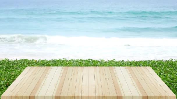 fehér fából készült terasz textúra a tengerparton tenger háttér