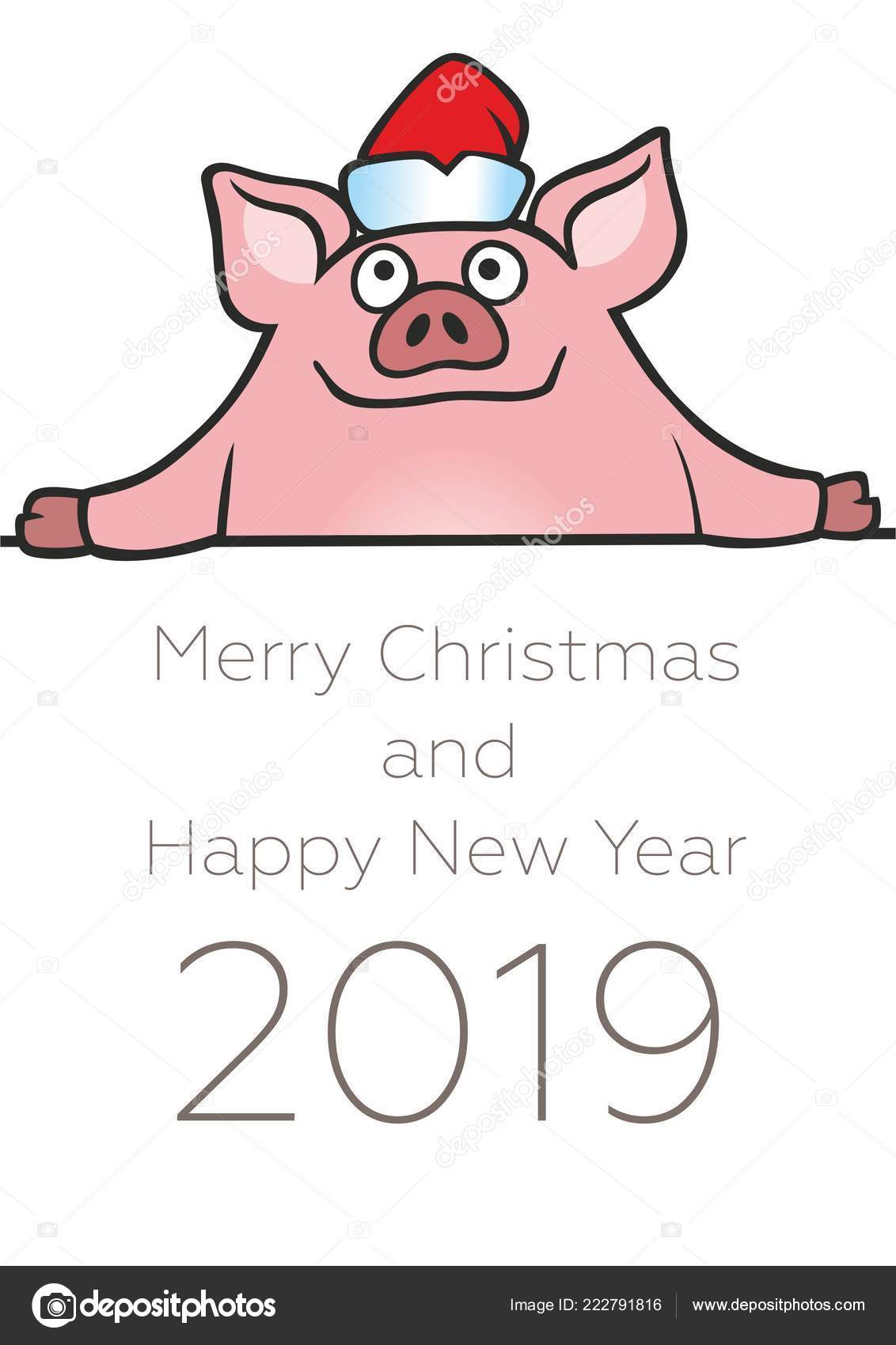 merry christmas happy new year 2019 funny card design cartoon stock vector