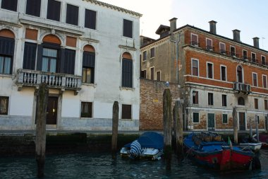 VENICE, ITALY - JANUARY 2019: Sunny winter day in Venice, shot from channel