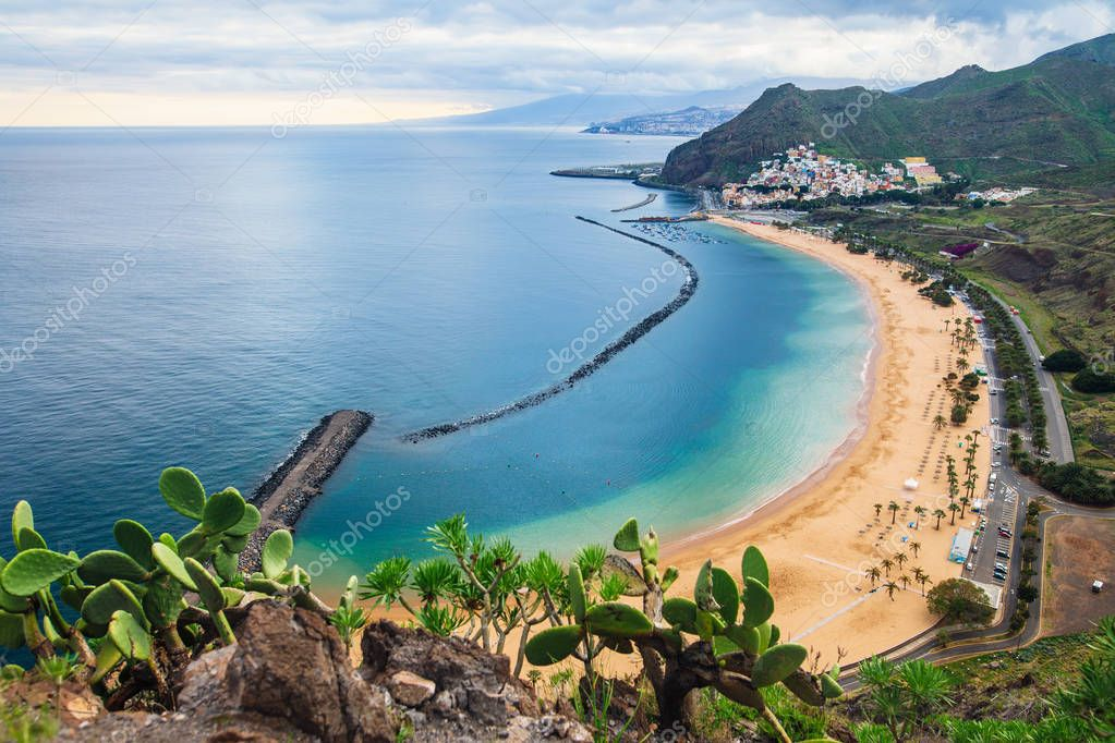 Scenic top view of beach Las Teresitas in Tenerife, Spain, Canary Islands. Travel explore destination concept. Summer holiday
