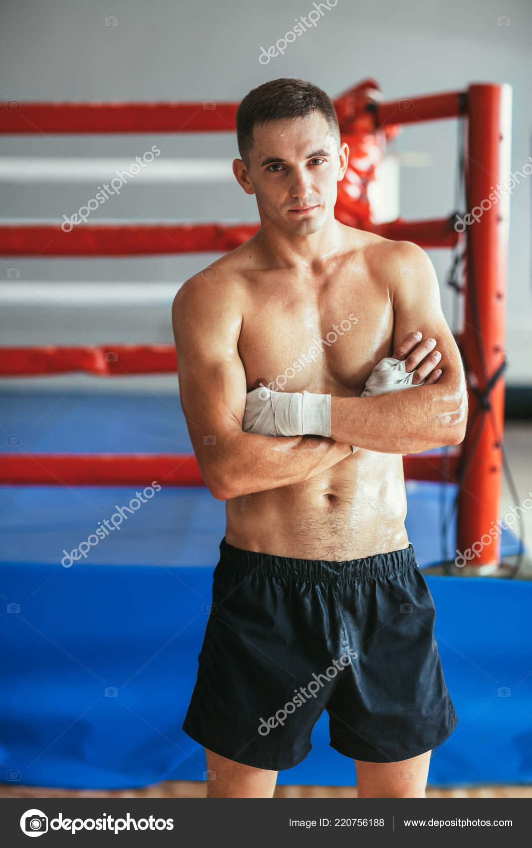 Portrait Muscular Handsome Boxer Ring Background Man Arms Crossed Naked —  Stock Photo