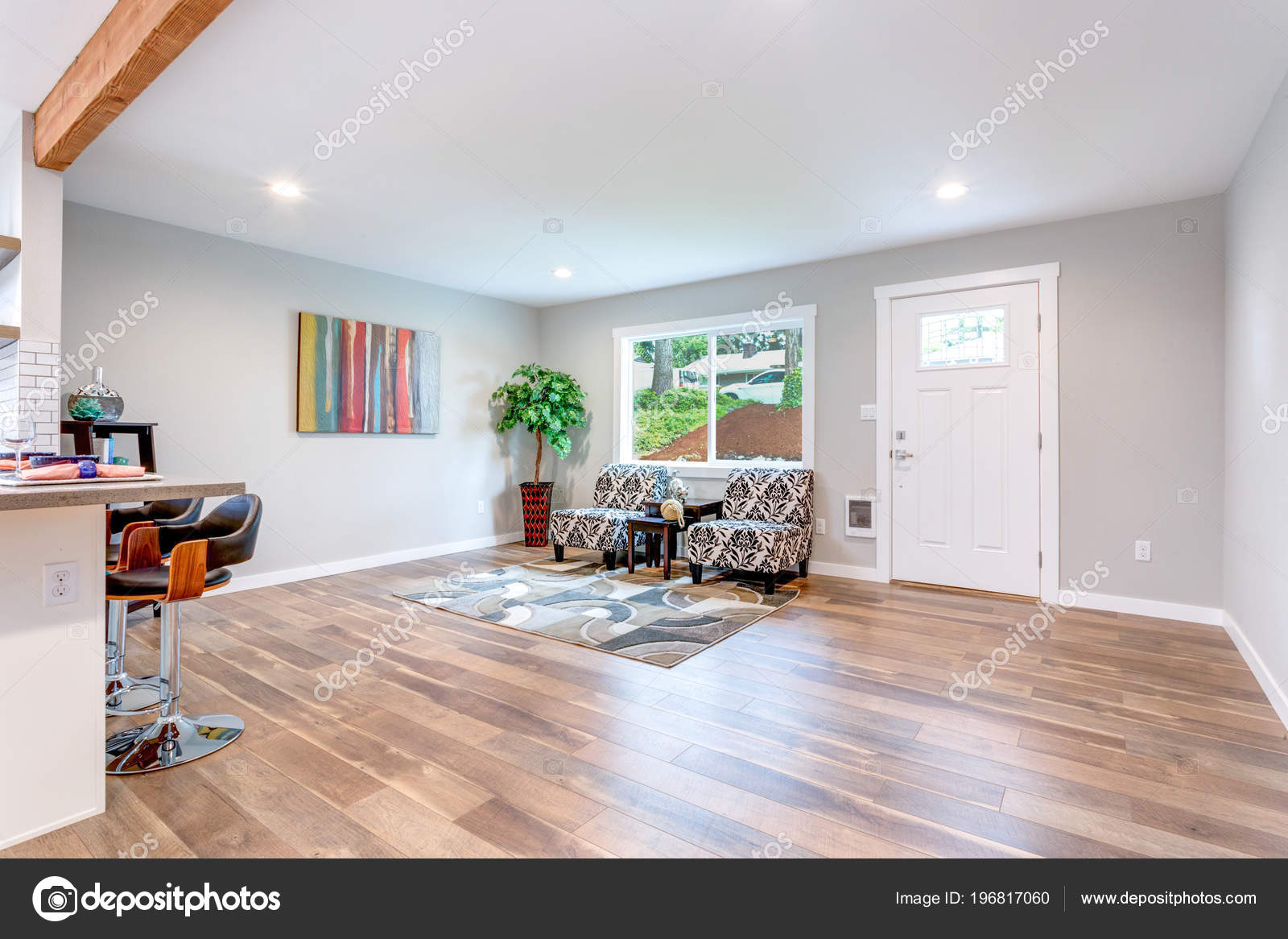 Interior Casa Concepto Abierto Con Piso Madera Monton Espacio