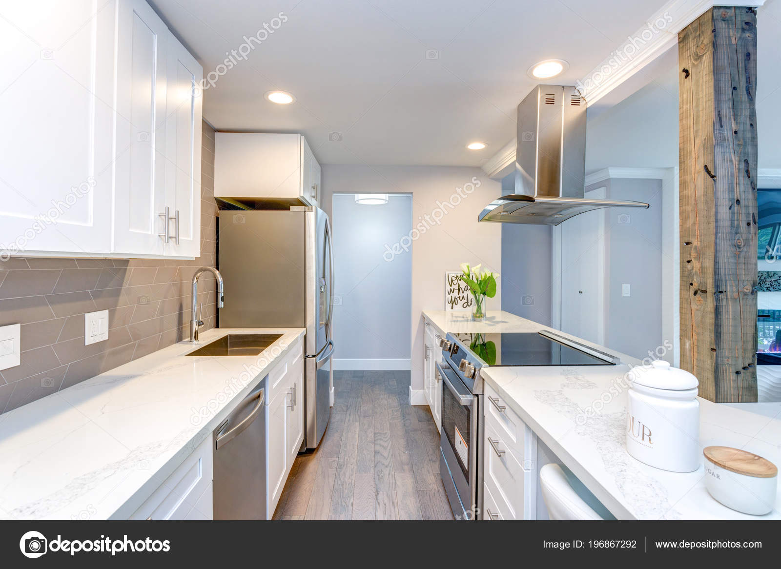 White Small Kitchen Stainless Steel Appliances Modern ...