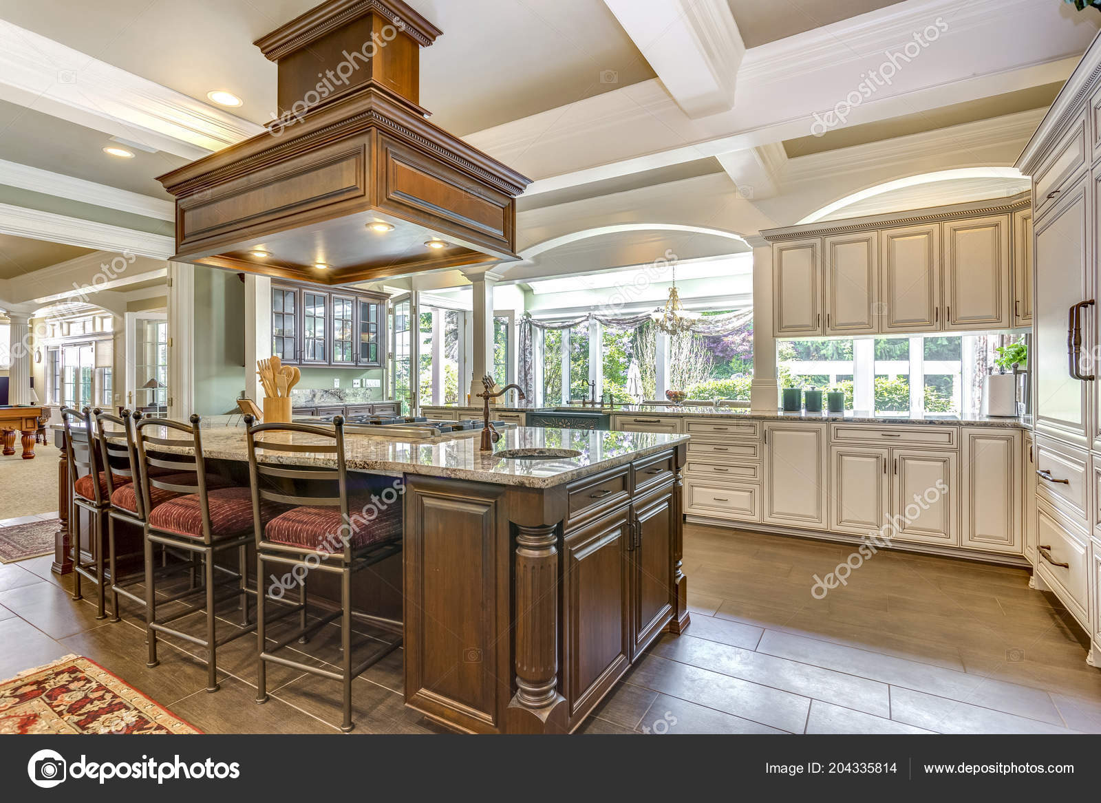 Superbe Design Chambre Cuisine Avec îlot Style Grand Bar Plafond