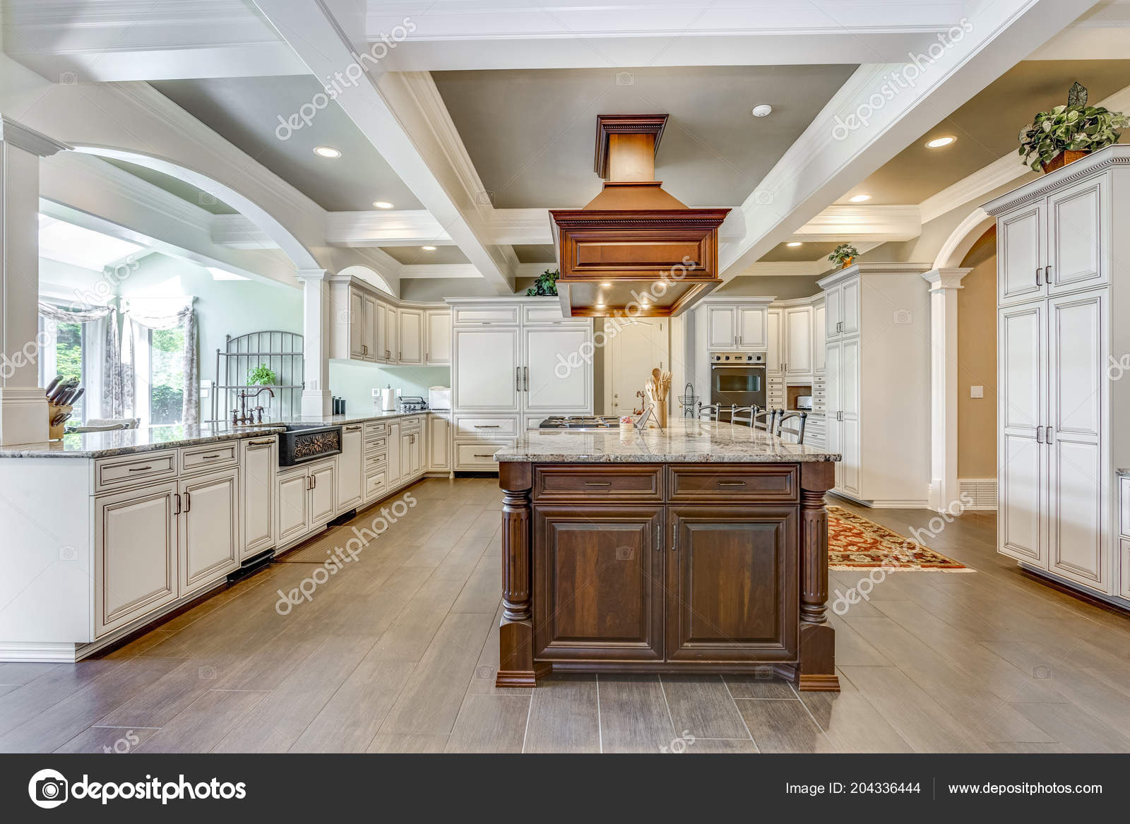 Stunning Kitchen Room Design Large Bar Style Island Coffered Ceiling ...