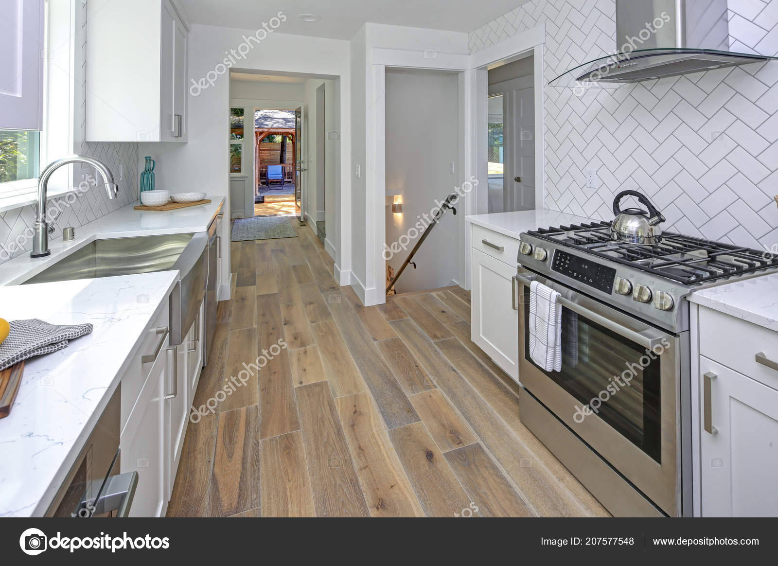 Remodeled Kitchen Pure White Cabinets Marble Countertops Herringbone Backsplash Stainless Stock Photo C Alabn 207577548