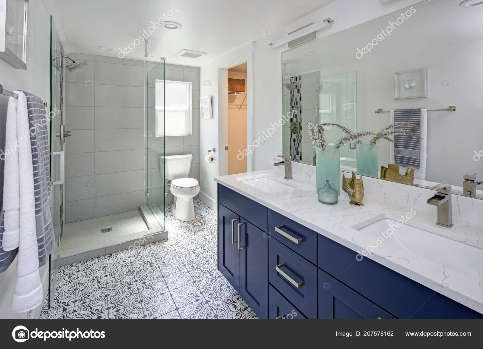 . Modern Bathroom Interior Blue Double Vanity Glass Shower   Stock