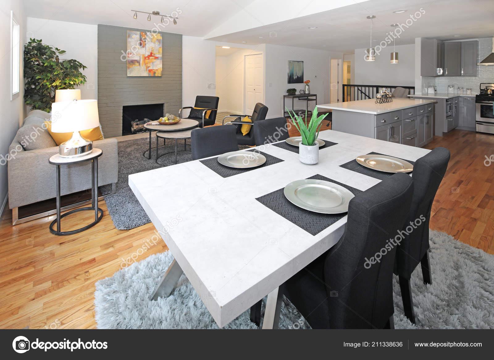 Awe Inspiring Modern Interior Design Open Floor Plan White Dining Table Creativecarmelina Interior Chair Design Creativecarmelinacom